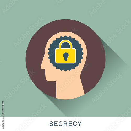 Photo Secrecy icon concept with human head