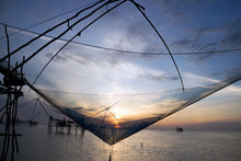 Silhouette Of Square Dip Nets ...