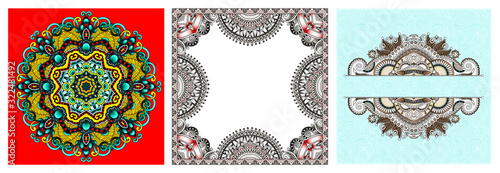 set of paisley floral design elements for page decoration, frame, corner, divide Fototapeta