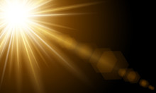 Bright Sun Flare. Bright Glow From A Searchlight. Realistic Shine On A Dark Background.