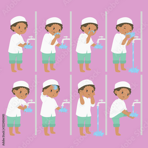 Muslim African American boy perform ablution steps, to clean self before prayer or shalat Canvas Print