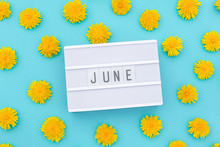 Text June On Light Box And Yel...