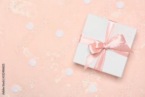 Fototapeta Beautiful gift box on color background obraz na płótnie