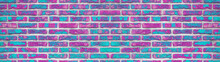 Pink Aquamarine Turquoise Abstract Painted Rustic Brick Wall Texture Background Banner Panorama