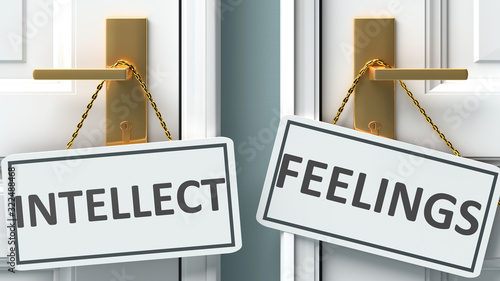 Obraz Intellect or feelings as a choice in life - pictured as words Intellect, feelings on doors to show that Intellect and feelings are different options to choose from, 3d illustration - fototapety do salonu