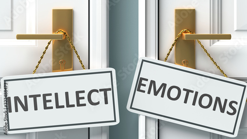 Obraz Intellect or emotions as a choice in life - pictured as words Intellect, emotions on doors to show that Intellect and emotions are different options to choose from, 3d illustration - fototapety do salonu