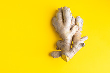 Ginger Root On Bright Yellow B...