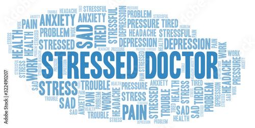 Vászonkép Stressed Doctor word cloud.