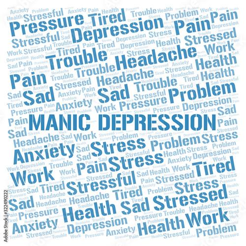 Vászonkép Manic Depression word cloud.