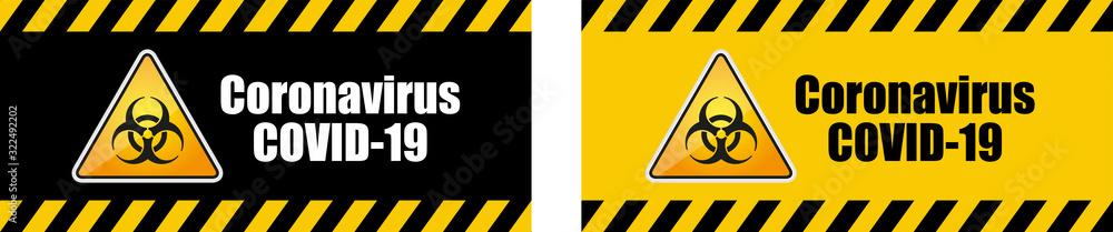 Fototapeta Warning coronavirus sign on banner