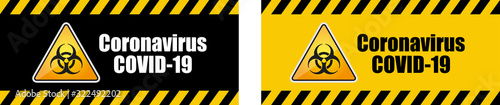 Obraz Warning coronavirus sign on banner	 - fototapety do salonu