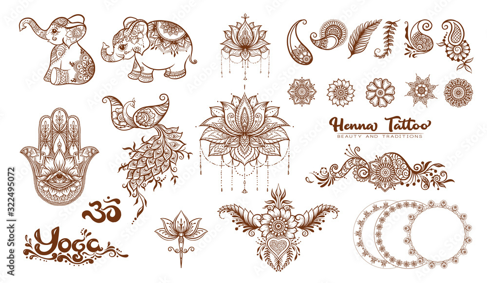 Fototapeta Set of elements for design in mehendi, traditional indian henna style. Ethnic style compositions. Floral ornaments and mandalas. Vector illustration..