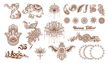 Set Of Elements For Design In Mehendi, Traditional Indian Henna Style. Ethnic Style Compositions. Floral Ornaments And Mandalas. Vector Illustration..