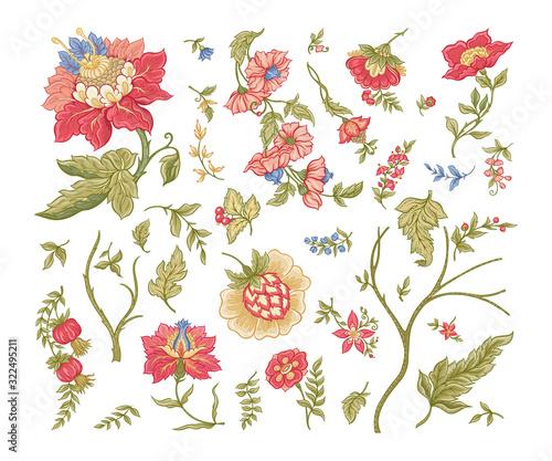 Fényképezés Set of Fantasy flowers in retro, vintage, jacobean embroidery style