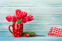 Red Tulip Bouquet In Red Glass...