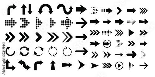 Fototapeta arrows set with different style isolated on white background obraz na płótnie