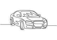 One Line Drawing Of Car. Sedan...