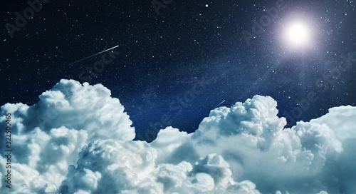 Obraz Night sky with clouds and stars - fototapety do salonu