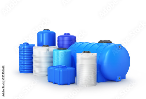 Fototapeta  types of plastic water storage tank. 3D illustration obraz