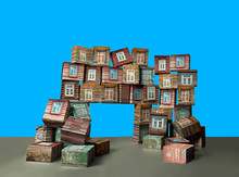 House Of Wooden Blocks And Cubes, Falling Apart