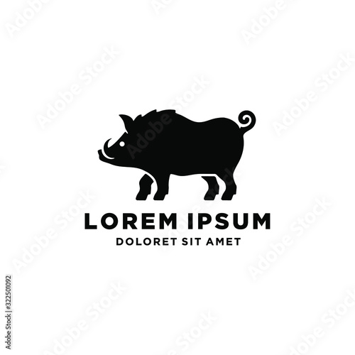 Fotografia pig boar warthog hog logo icon vector illustration download