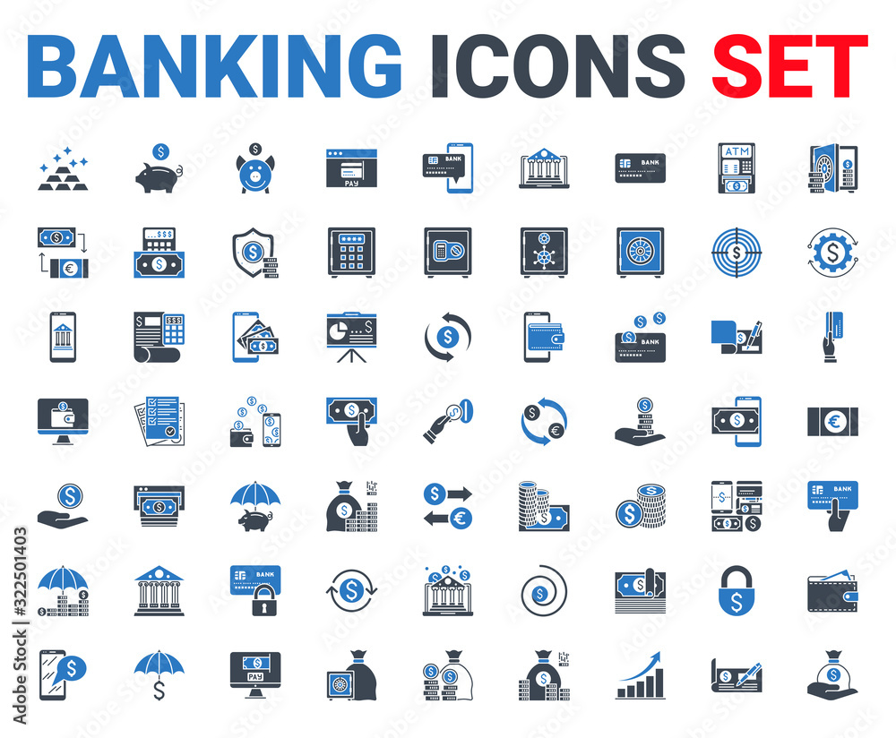 Fototapeta Set banking icons glyph. For concepts and web apps