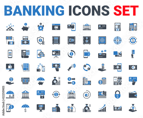 Set banking icons glyph. For concepts and web apps Tableau sur Toile