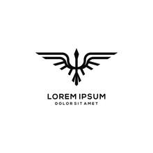 Heron Pelican Stork Vector Logo Lineart Line Outline Monoline Icon Design Stock Gulf Bird Coast Beach Illustration Abstract