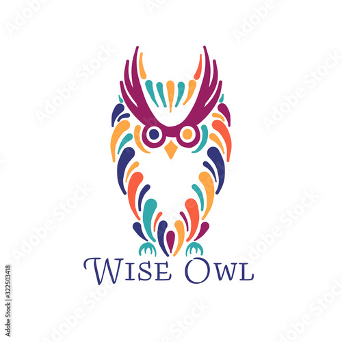 Cute owl colorful, logo design template Wall mural