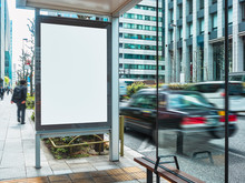 Mock Up Billboard Banner Template At Bus Stop Media Advertisement Outdoor Street Sign Display