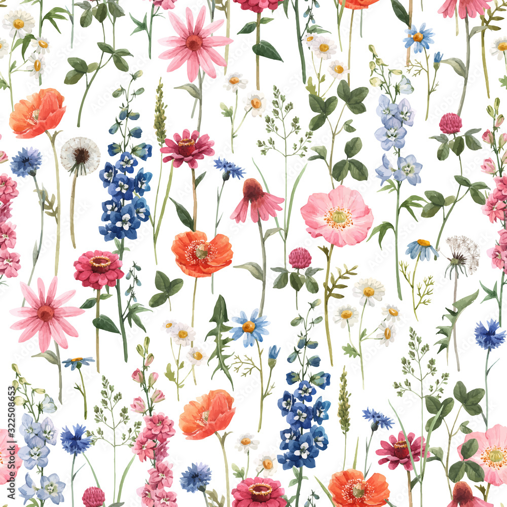 Beautiful vector floral summer seamless pattern with watercolor hand drawn field wild flowers. Stock illustration.