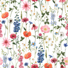 Fototapeta Malarstwo Beautiful vector floral summer seamless pattern with watercolor hand drawn field wild flowers. Stock illustration.