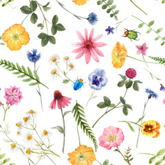 Fototapeta Kwiaty Beautiful vector floral summer seamless pattern with watercolor hand drawn field wild flowers. Stock illustration.