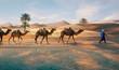 Leinwandbild Motiv Berbers with Dromadaires in Merzouga Sahara desert on Morocco