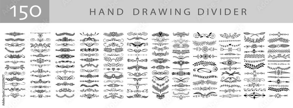 Fototapeta mega set of 150 doodle sketch drawing divider, wedding card design element or page decoration
