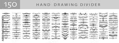 Fotografia mega set of 150 doodle sketch drawing divider, wedding card design element or pa