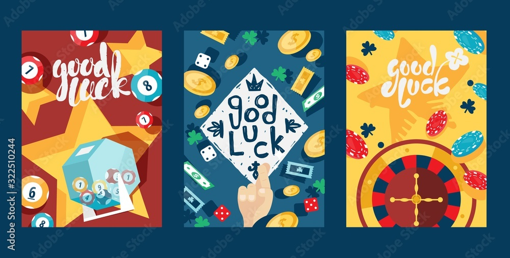 Fototapeta Good luck in gambling, typography banners, vector illustration. Set of cards with casino symbol, game icon. Jackpot, lottery, bingo, poker and roulette. Casino advertisement flyer, invitation template