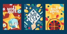 Good Luck In Gambling, Typography Banners, Vector Illustration. Set Of Cards With Casino Symbol, Game Icon. Jackpot, Lottery, Bingo, Poker And Roulette. Casino Advertisement Flyer, Invitation Template