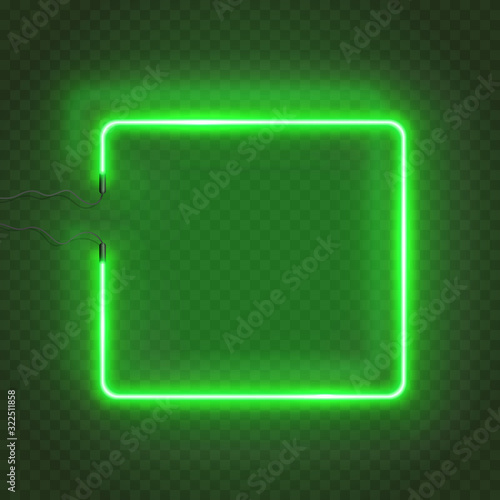 Fotomural Neon rectangle lamp wall sign isolated on transparent background
