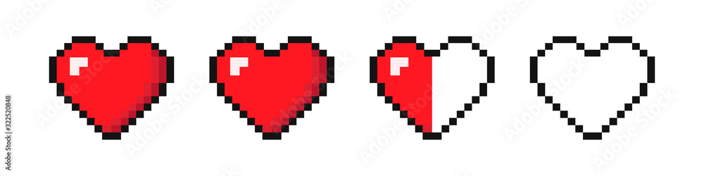 Fototapeta Set of pixel hearts with video games isolated on white background. '8-bit style. Vector illustration