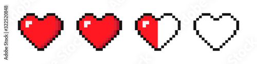 Set of hearts with video games. '8 bit style. Vector illustration Canvas Print
