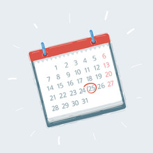 A Blank Calendar Isolated On White Background,