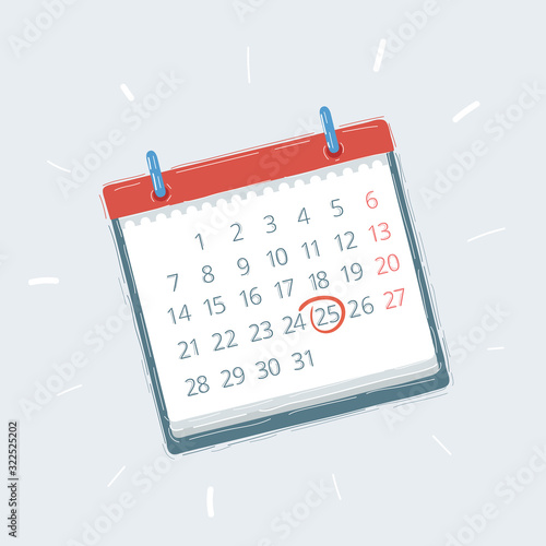 Cuadros en Lienzo A Blank calendar isolated on white background,