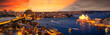 canvas print picture - View point of Sydney harbour with city and bridge in sunset time