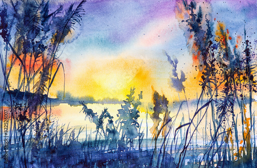 Photo Watercolor illustration of a beautiful summer forest landscape by the lake