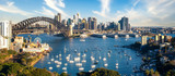 Fototapeta Nowy Jork - View point of Sydney harbour with city and bridge in day time