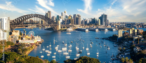 View point of Sydney harbour with city and bridge in day time Canvas Print