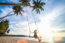 Asian Girl On Swing In Koh Koo...