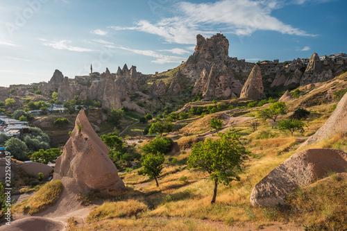 Beautiful morning at Uchisar castle in summer season, central Anatolia, Turkey Canvas Print