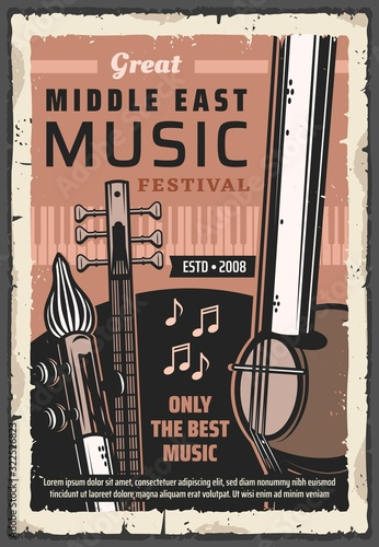 Fototapeta Folk musical instruments of Middle East music vector poster of ethnic festival, concert and live fest design. Piano, saz, kamancheh and tar with music notes, string, keyboard and wind musical tools obraz